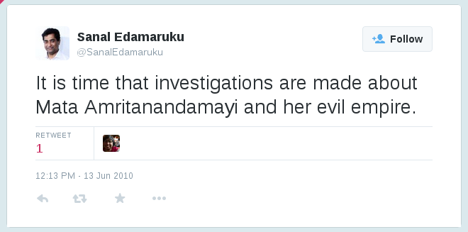 Sanal Edamaruku Amma tweet